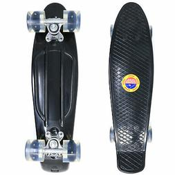 Retailery 22 Inch Skateboard With Light-Up LED Wheels, Black
