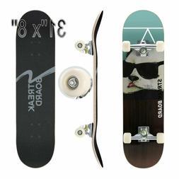 31''x 8'' Complete Skateboard Double Kick Deck Concave PANDA