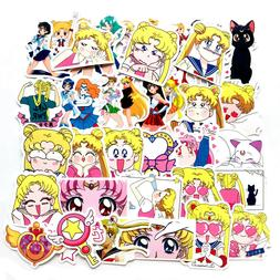 37 pcs Pack Sailor Moon Cute Vinyl Decal Stickers for Skateb