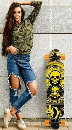 ENKEEO 40 Inch Drop-Through Longboard Skateboard Complete fo