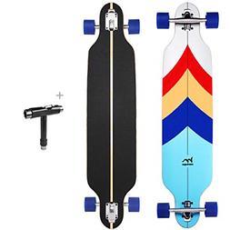 M Merkapa 41 Inch Drop-Through Longboard Skateboard Cruiser