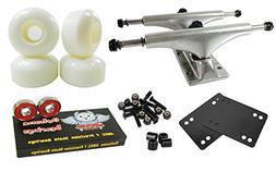 Owlsome 5.25 Polished Aluminum Skateboard Trucks w/52mm Whee