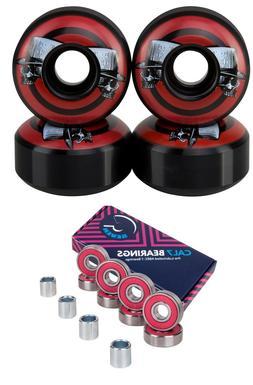 Cal 7 52mm Graphic Skateboard Wheels + Cal 7 Bearings and Sp
