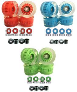 57x32mm LED Skateboard Longboard  Wheels w/ Bearings and Spa