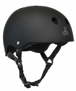 Triple 8 Skateboard Helmet, Black Rubber/Black, Medium