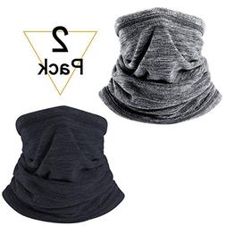 JIUSY 2 Pack Soft Fleece Neck Gaiter Warmer Face Mask Cover