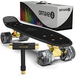 Skatro - Mini Cruiser Skateboard. 22x6inch Retro Style Plast