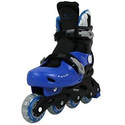 Krown Kids Adjustable Inline Skates, Black/Blue, Medium