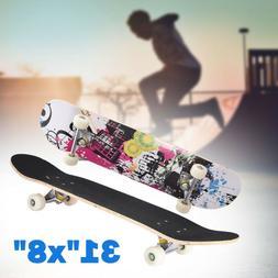 "Blank Complete Skateboard Stained BLACK 31""x8"" Skateboards,"