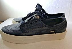 VANS Brigata Perf Leather Black White Skateboard Shoes, Men