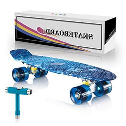 "Newdora 22"" Complete Skateboard Cruiser with Colorful LED Li"