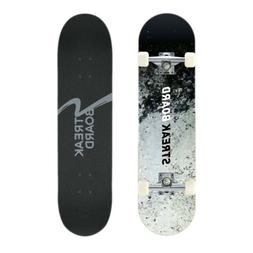 Complete Skateboard Double Kick Deck Concave With White Whee