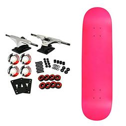 Moose Complete Skateboard NEON PINK 8.25 Silver/White