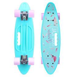 ENKEEO 22 Inch Cruiser Skateboard Complete Plastic Banana Bo