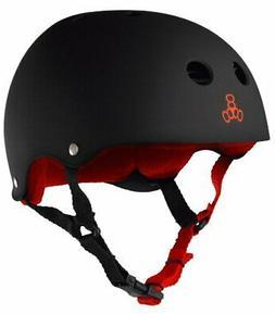 Triple Eight Helmet with Sweatsaver Liner, Black Rubber/Red,