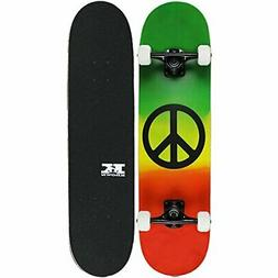 Complete RASTA PEACE SIGN Skateboard With Pro Parts