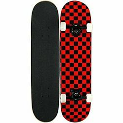 KPC Pro Skateboard Complete Black and Red Checker