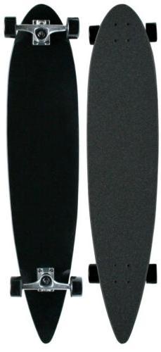 Black CRUISER PINTAIL LONGBOARD Skateboard COMPLETE 9 in x 4