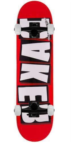 """BAKER SKATEBOARD COMPLETE Brand Logo White 7.56"""" Black truck"""
