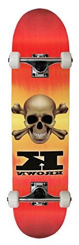 KROWN Skateboard Faded Skull Red 7.5 x 31.5