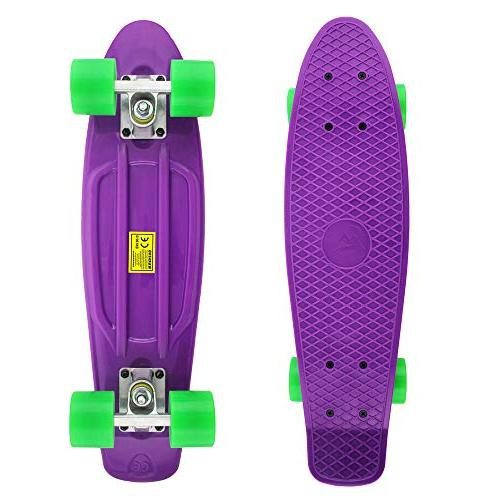 MEKETEC Complete 22 Inch Mini Cruiser Retro Skateboard for Youths Beginners