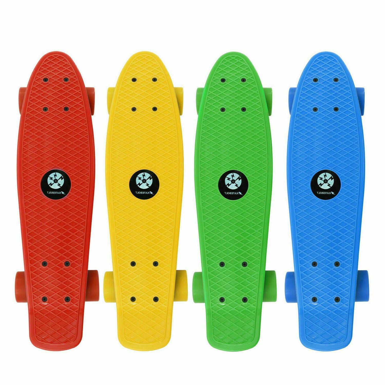 Yellow Sky Blue Wheels Penny Sized Board Cruiser Board