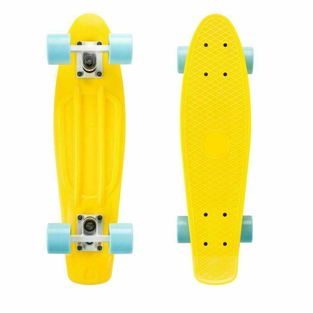 yellow skateboard with sky blue wheels penny
