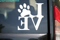 Minglewood Trading Love Pawprint WHITE vinyl decal sticker 5