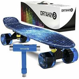 Skatro Mini Cruiser Skateboard. 22x6inch Retro Style Plastic