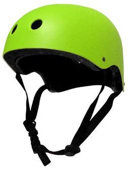 Krown Neon Green Shell with Black Strap Skateboard Helmet, O