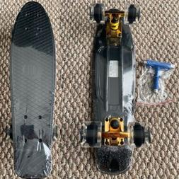 Plastic Penny Size Board 22 Inch Black Clear Wheels Gold Tru