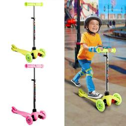 Pushing Kick Scooter for Kids Adjustable 3 Wheel Glider with
