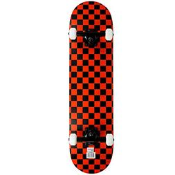 Krown Rookie Checker Skateboard, Black/Red, 7.75""