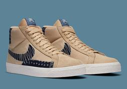 Nike SB Zoom Blazer Mid PRM Shoe Sashiko Sesame Mystic Blue