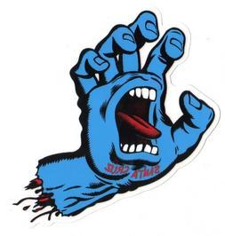 Santa Cruz Screaming Hand Skateboard Sticker in Blue - Jim P
