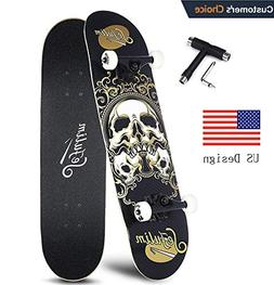 "Sefulim 31""x8"" Pro Complete Skateboard Skull Skateboard with"