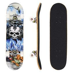 "Hikole Pro Skateboard Complete - 31"" x 8"" Double Kick 9 Laye"