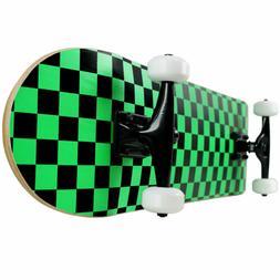 PRO Skateboard Complete Pre-Built CHECKER PATTERN Black/Gree