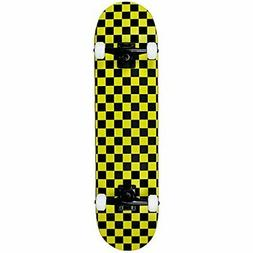 PRO Skateboard Complete Pre-Built CHECKER PATTERN Black/Yell