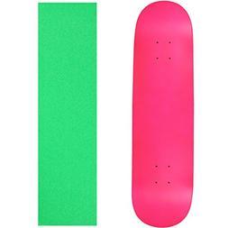 "Skateboard Deck Blank Neon Pink 8.0"" Neon Green Grip"
