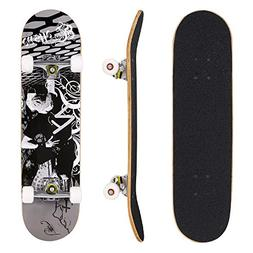 Hikole Adult Kids Skateboard Complete - Profession Wood Skat