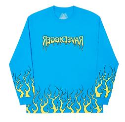 skateboards ravedigger ls blue tee shirt size