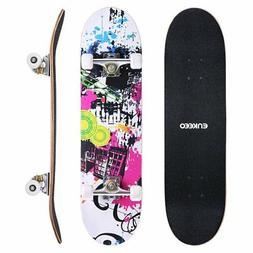 "ENKEEO 32"" Skateboard Complete 9 Ply Maple Wood Double Kick"