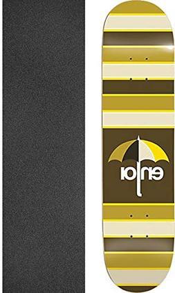 Enjoi Stripes Skate Deck-8.25 Brown w/Mob Grip