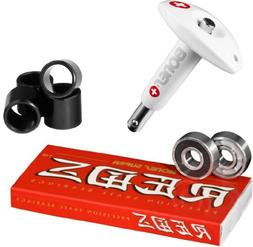 Bones Super Reds Bearings, 8 Pack set With Puller Tool & FRE