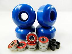 Set of 4 Skateboard Wheels Blank 52mm Blue + Abec 7 Bearings